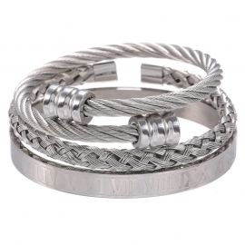 3Pcs Juego de Pulsera abierto de alambre de acero trenzado con brazalete de números romanos de plata