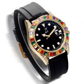 40mm Reloj de Aleación de Piedras de Colores y Esfera Negra con Correa de Caucho Negra