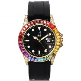 40mm Reloj de Aleación de Piedras Arco Iris y Esfera Negra con Correa de Goma Negra