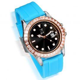 40mm Reloj de Aleación de Oro Rosa de Esfera Negra con Correa de Caucho Azul