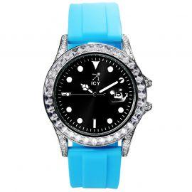 40mm Reloj de Aleación de Esfera Negra con Correa de Caucho Azul