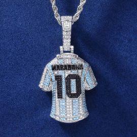 Colgante de la Camiseta del Genio del Fútbol Maradona con Diamantes