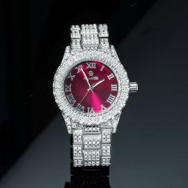Reloj de Hombre de Esfera Roja con Números Romanos de Plata con Diamantes