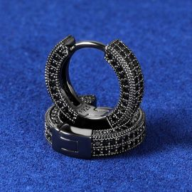 Pendiente de Aro con Diamantes de Negro