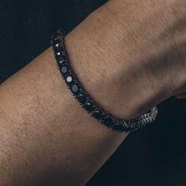 Pulsera de Tenis de Piedras Negras de 5 mm de Oro Negro