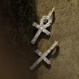 Juego de Colgante Cruz y Ankh de Oro con Diamantes