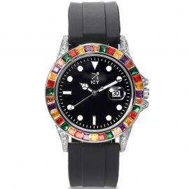 40mm Reloj de Aleación de Piedras Multicolores y Esfera Negra con Correa de Goma Negra
