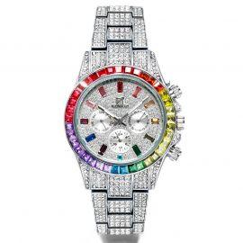 40mm Reloj con Esfera de Arco Iris de Plata con Diamantes