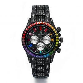 40mm Reloj con Esfera de Arco Iris de Oro Negro con Diamantes