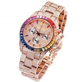 Reloj de Acero Inoxidable de Arco Iris Artesanal de Lujo de Oro Rosa