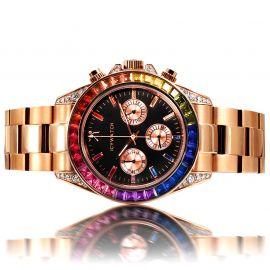 40mm Reloj de Oro Rosa con Diamantes Arco Iris y Esfera Negra
