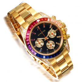 40mm Reloj con Esfera de Diamantes Arcoíris de Oro