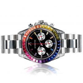 40mm Reloj de Esfera Negra con Diamantes de Arco Iris de Plata