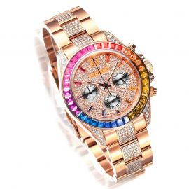 Reloj con Esfera de Diamantes Arcoíris de Oro Rosa