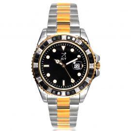 40mm Reloj de Esfera Negra con Diamantes de Dos Tonos