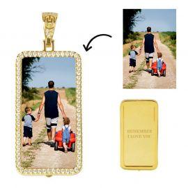 Colgante de Foto Rectángulo Personalizado de Oro