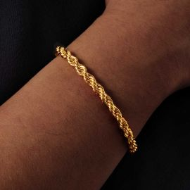 5mm Pulsera de Cuerda de Oro