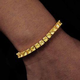 Pulsera de Tenis de 5 mm con Piedras Amarillas Fantasía de Oro