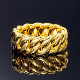 Anillo Cubano de 10mm de Oro