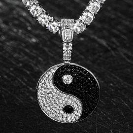 Colgante de Yin Yang de Plata con Diamantes
