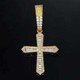 Colgante Cruz con Piedras Baguette de Oro