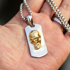 3D Collar de Acero Inoxidable con Cráneo de Oro