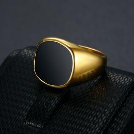 Anillo Cuadrado Negro de Acero de Titanio de Oro