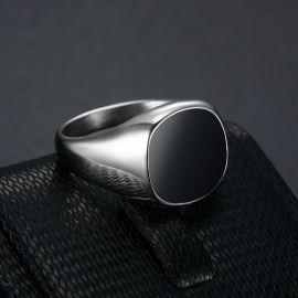 Anillo Cuadrado Negro de Acero de Titanio de Plata