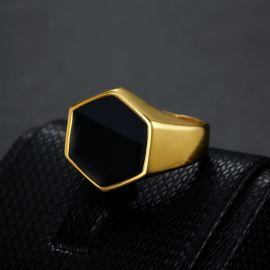 Anillo de Acero de Titanio con Sello Hexagonal Negro de Oro