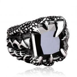 Anillo de Acero de Titanio en forma de Garra de Dragón con Piedra Negra