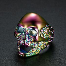 Anillo en forma de Cráneo en Acero de Titanio de Colores