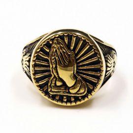 Anillo de oro de Acero de Titanio con forma de Manos en Oración