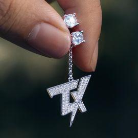 Pendientes asimétricos de Plata en forma de TX con Diamantes