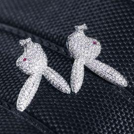 Pendientes de Cabeza de Conejo al Revés de Plata con Diamantes