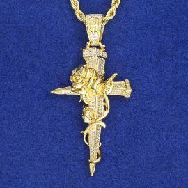 Colgante de Cruz y Rosa con Diamantes de Oro