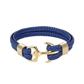 Pulsera de Cuero Trenzado Azul con Forma de Ancla de Oro