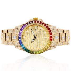 Reloj con Esfera Luminosa Baguette Arcoíris de Oro