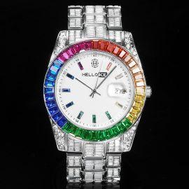 Reloj Arcoiris de Corte de Baguette de Plata para Hombre
