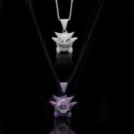 Juego de colgante Gengar con Diamantes Blancos y Purpuras