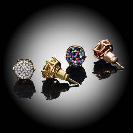 Pendientes de Botón con Diamantes Redondos Pavimentados