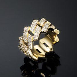 Anillo Cubano de Puntas con Diamantes de 14 mm de Oro