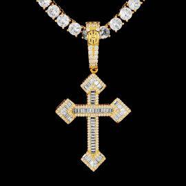 Colgante Cruz Cristiana con Piedras Baguette de Oro