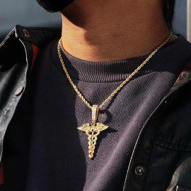 Colgante en Forma de Caduceo de Oro