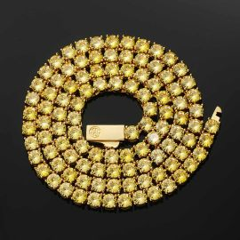 Cadena de Tenis con Piedras Amarillas de Fantasía de 5mm de Oro