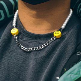 Cadena Cubana de Acero y Perlas con Semblante Risueño