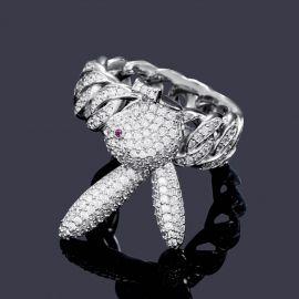Anillo de Plata con Diamantes con forma del Conejo del Revés