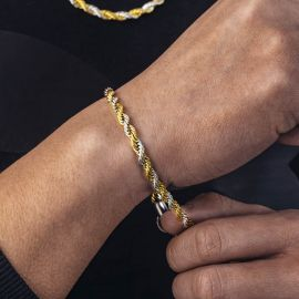 Pulsera de Cuerda Bicolor en Oro y Plata de 5 mm