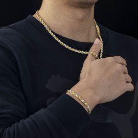 Cadena de Cuerda de Dos Tonos de Oro y Plata de 5 mm