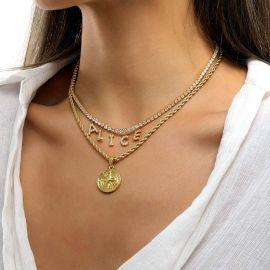 Collar de Tenis con Letras Personalizadas con Diamantes