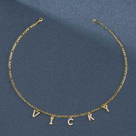 Collar Figaro con Letras de Nombre Personalizadas con Diamantes